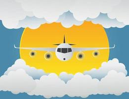 Airplane with clouds and sun on blue background.paper art.vector illustration vector