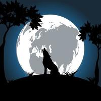 wolf at night on the moon is bright and bright background. vector