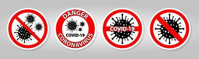 señal de advertencia, precaución brote coronavirus covid 19 vector