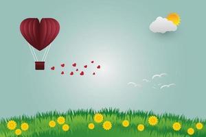 Globos de San Valentín en forma de corazón volando sobre el fondo de la vista de hierba, estilo de arte de papel ilustrador vectorial vector