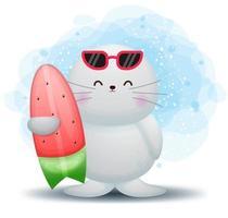 Cute doodle walrus holding watermelon surf cartoon character vector
