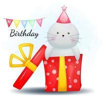 Cute doodle walrus and happy birthday gift cartoon character vector