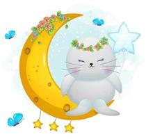 Cute doodle walrus girl sit on the moon cartoon character vector
