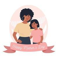 tarjeta del día de la madre, mamá sostiene a la pequeña hija en brazos vector