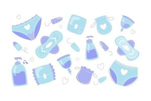 Feminine hygiene items collection in flat style vector