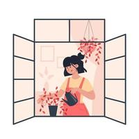 Young woman watering plants on an open window vector