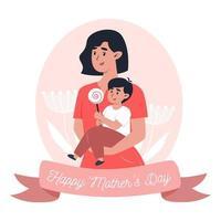 tarjeta del día de la madre, mamá sostiene a su pequeño hijo en brazos vector