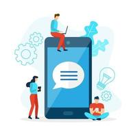 Mobile phone chat with bubble speech vector
