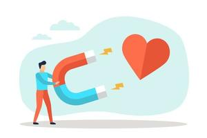 Man attract money a heart with a large magnet vector