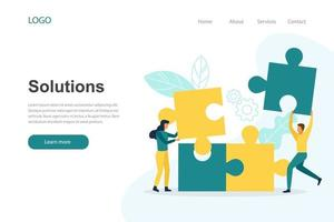 Landing page template of solutions vector
