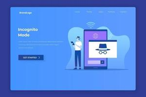 Flat design of incognito browsing concept
