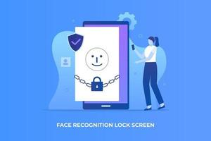 Face recognition lock screen illustration concept