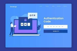 concepto de ilustración de página de destino de código otp vector