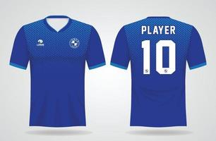 blue sports jersey template for team uniforms and Soccer t shirt design vector