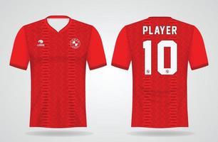 plantilla de camiseta deportiva roja para uniformes de equipo y diseño de camiseta de fútbol vector
