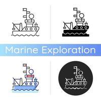 icono de buque de investigación vector