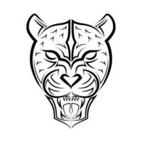 Black and white line art of Roaring Leopard head. Good use for symbol, mascot, icon, avatar, tattoo, T Shirt design, logo or any design you want. vector