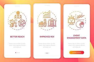 Hybrid gathering benefits onboarding mobile app page screen with concepts vector