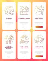 Virus mutations onboarding mobile app page screen with concepts vector