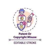 Icono de concepto de uso indebido de patentes y derechos de autor vector