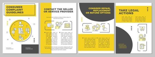 Consumer complaint guidelines brochure template vector