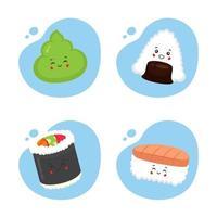 juego de 4 sushi kawaii vector