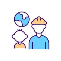 Migrant worker family RGB color icon vector