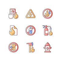 Conjunto de iconos de colores rgb de emergencia contra incendios vector