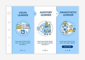 Learning styles types onboarding vector template