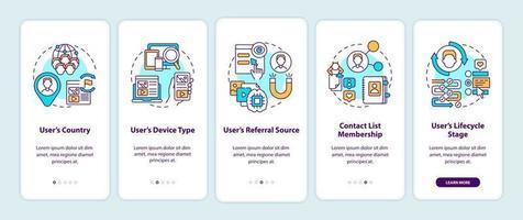 Criterios de reglas inteligentes Pantalla de página de la aplicación móvil incorporada con conceptos vector