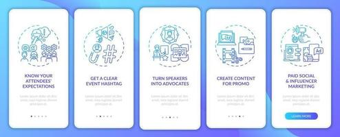 Distant event marketing tips onboarding mobile app page screen with concepts vector