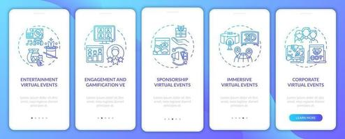 Distant events types onboarding mobile app page screen with concepts vector