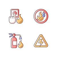 Fire hazards instructions RGB color icons set
