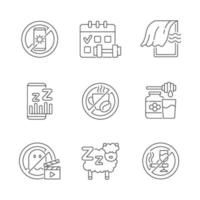 Conjunto de iconos lineales de razones de insomnio vector