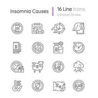 Insomnia causes linear icons set vector