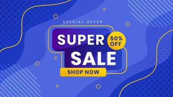 Super sale special offer with discount. Liquid trendy wallpaper blue background. Vector illustration.