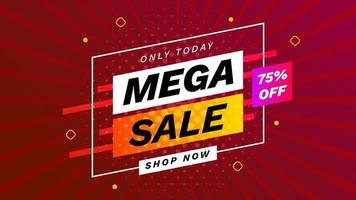 Mega sale banner with dark red background. Sale only today with discount. Advertising promotion banner template. Vector illustration.