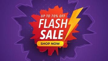 Banner de venta flash con efecto de grietas o choques. fondo morado con colores degradados rojos. plantilla de promoción de anuncios de productos comerciales. vector