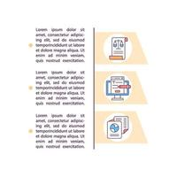 Signing employment contract online concept line icons with text vector