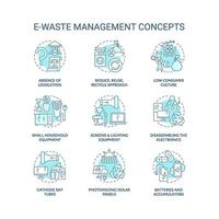 Conjunto de iconos de concepto de gestión de residuos electrónicos vector