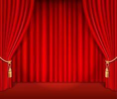Ilustración de vector de fondo de cortina teatral roja.