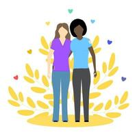 Two lesbian girls, black and white. LGBT couple. Gay relationship. Concept vector illustration. Perfect for internet publication.