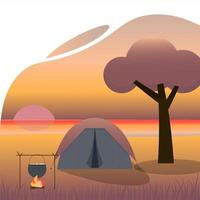 Camping at the evening beach. Local tourism. Concept vector illustration.