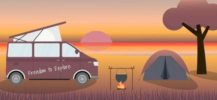 Caravan and camping at the evening beach. Local tourism. Concept vector illustration.