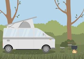 Caravan in a forest. Local summer vacation. Concept vector illustration. Perfect for internet publications, landing pages or printing.