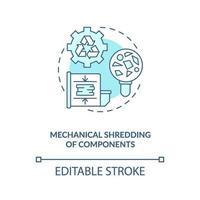 icono de concepto de trituración de componentes mecánicos vector
