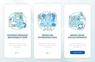 iniciativas de reducción de basura electrónica que incorporan la pantalla de la página de la aplicación móvil con conceptos vector