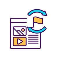 visita repetida a la página web icono de color rgb vector