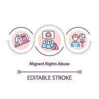 icono del concepto de abuso de los derechos de los migrantes vector