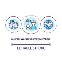 Migrant workers family members concept icon vector